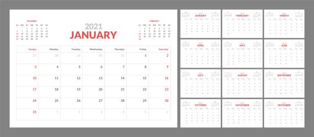 Wall calendar template for 2021 year. Planner diary in a minimalist style. Week Starts on Sunday. Monthly calendar. Wall calendar template for 2021 year. Planner diary in a minimalist style. Week Starts on Sunday. Monthly calendar ready for print. calendars templates stock illustrations