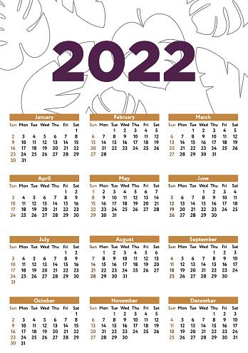 Wall calendar template for 2022 Vector illustration