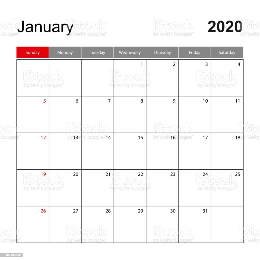 Wall Calendar Template For January 2020 Holiday And Event Planner Week Starts On Sunday Stock Illustration Download Image Now Istock