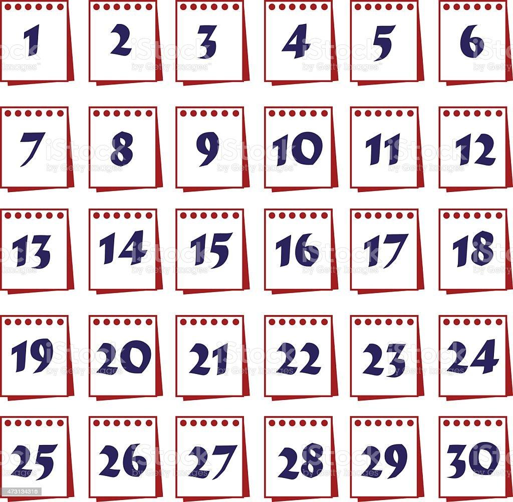 Wand Kalender mit Tage-icons set eps10 – Vektorgrafik