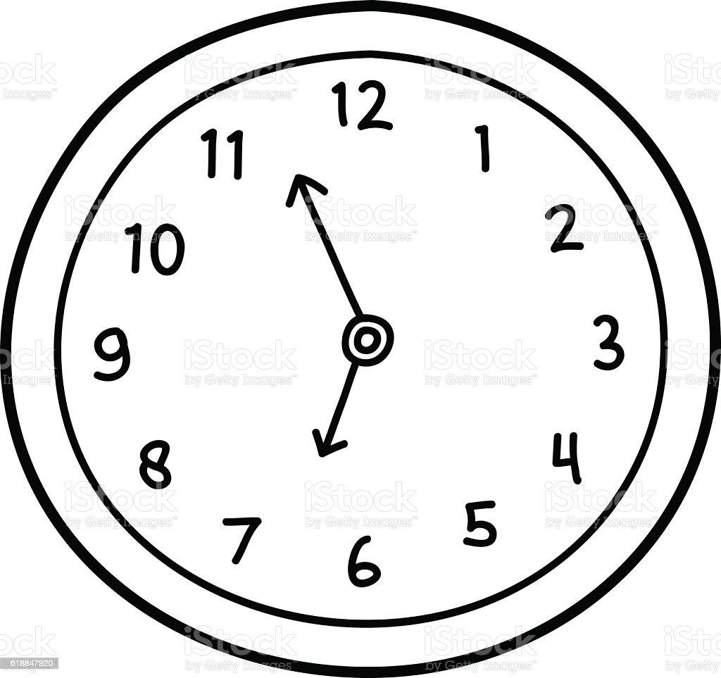 Wall Clock Doodle vector art illustration