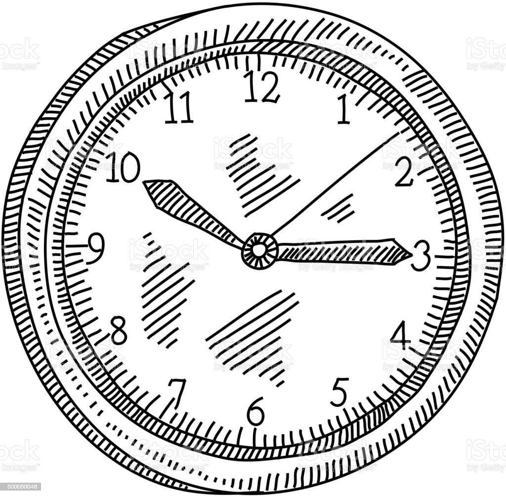 Wall Clock Drawing Stock Illustration - Download Image Now - iStock