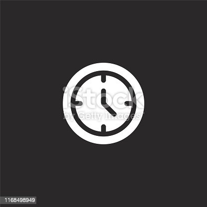 istock wall clock icon. Filled wall clock icon for website design and mobile, app development. wall clock icon from filled email collection isolated on black background. 1168498949