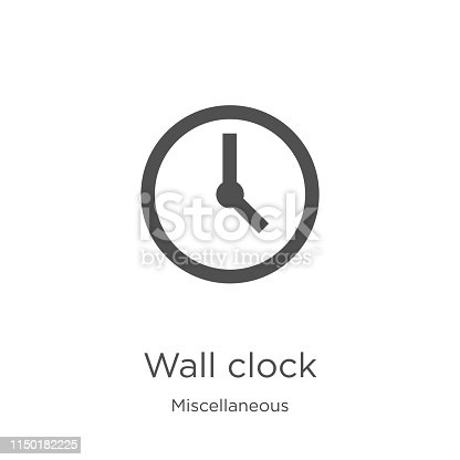 istock wall clock icon vector from miscellaneous collection. Thin line wall clock outline icon vector illustration. Outline, thin line wall clock icon for website design and mobile, app development 1150182225