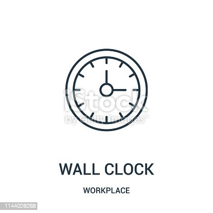 istock wall clock icon vector from workplace collection. Thin line wall clock outline icon vector illustration. 1144026268