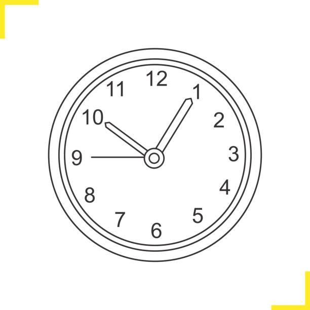 Wall clock illustration Wall clock linear illustration. Time. Thin line. Vector wall clock stock illustrations