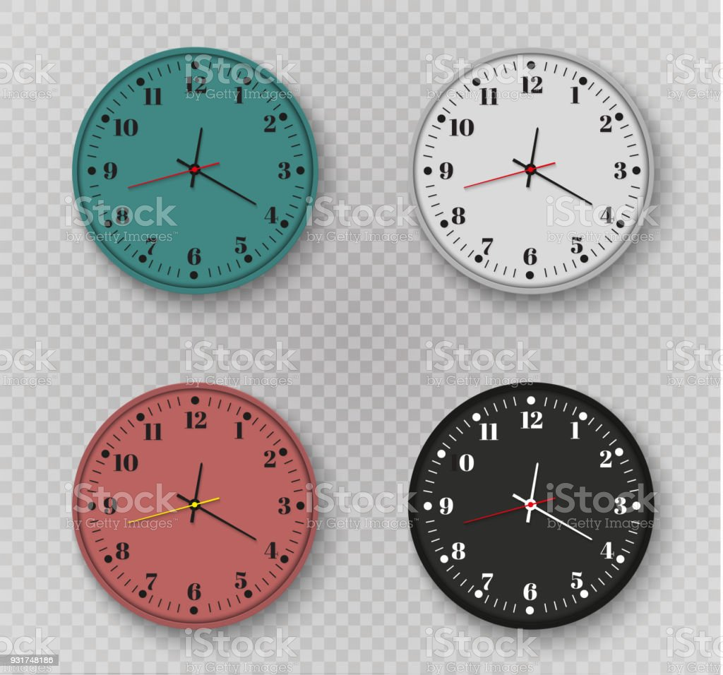 Wall Clock Office Template Design In Vector Closeup The Layout For ...