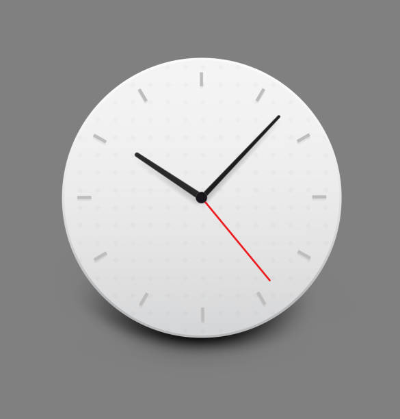 Wall clock on gray background. Vector illustration. ready for your design. wall clock stock illustrations