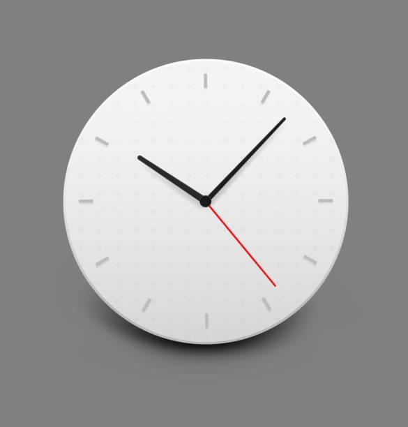 ilustraciones, imágenes clip art, dibujos animados e iconos de stock de reloj de pared sobre fondo gris. - wall clock