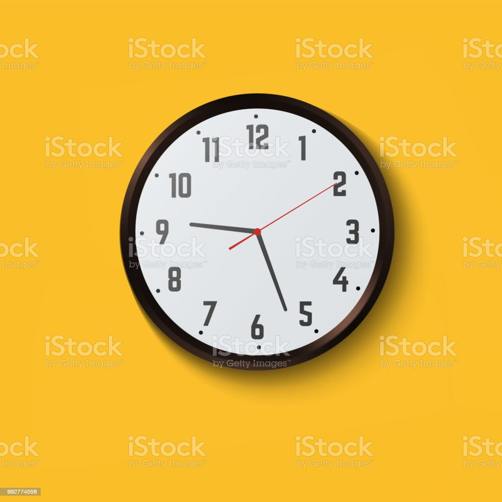 Wall Clock On Yellow Background Stock Vector Art & More Images of ...