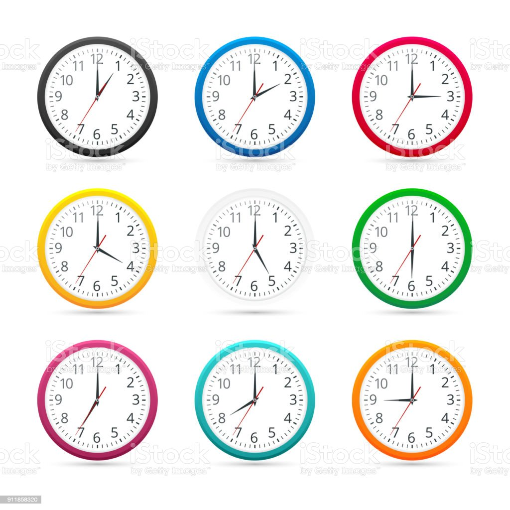 Wall Clocks With Different Colors Design Icon Isolated On White ...