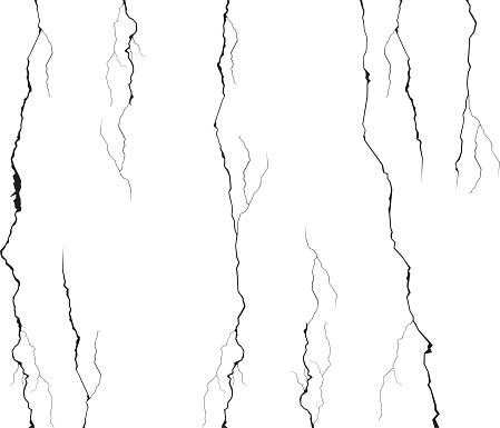 Wall crack vector set