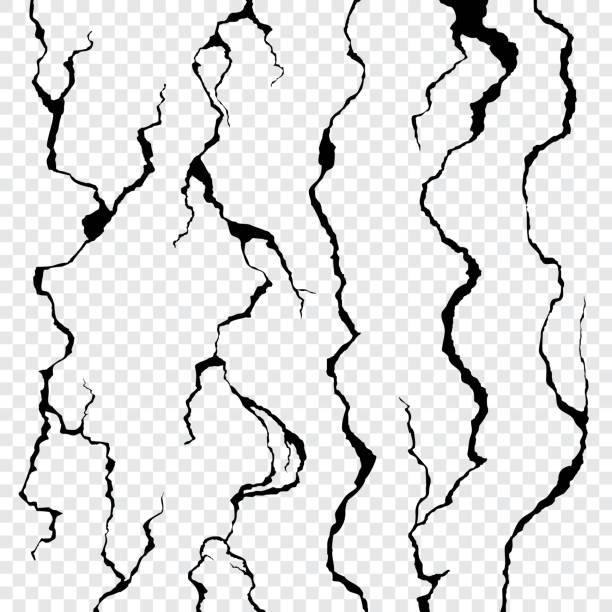 pęknięcia ścienne izolowane na przezroczystym tle - popękany stock illustrations