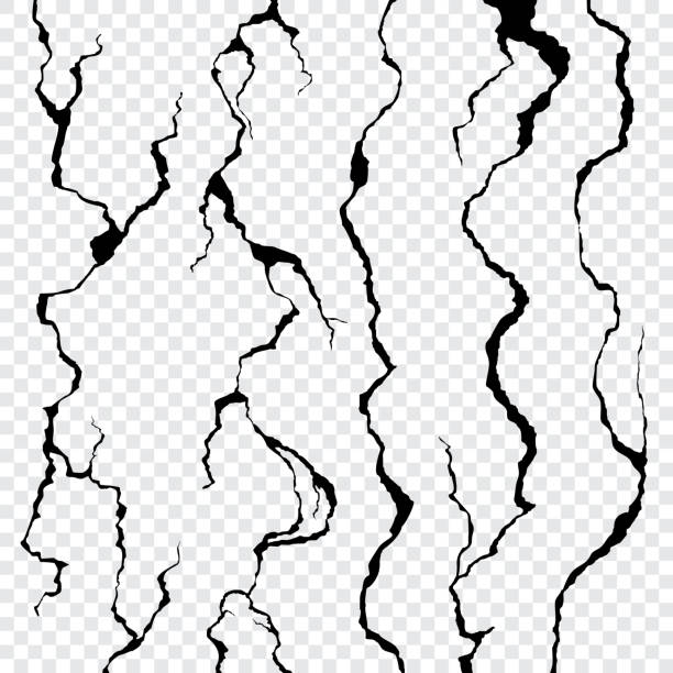 Wall cracks isolated on transparent background Wall cracks isolated on transparent background. Fracture surface ground, cleft broken collapse illustration earthquake stock illustrations