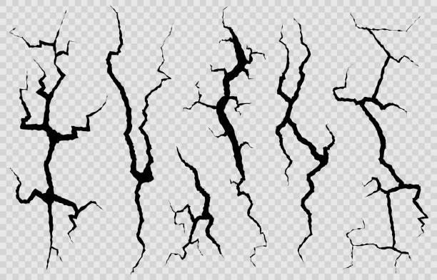 Wall cracks. Surface fracture structure, cleft broken dry lining wall or destroyed cracked glass, earthquake destruction vector set Wall cracks. Surface fracture structure, cleft broken dry lining wall or destroyed cracked glass, earthquake destruction vector cracking isolated abstract set cracked stock illustrations