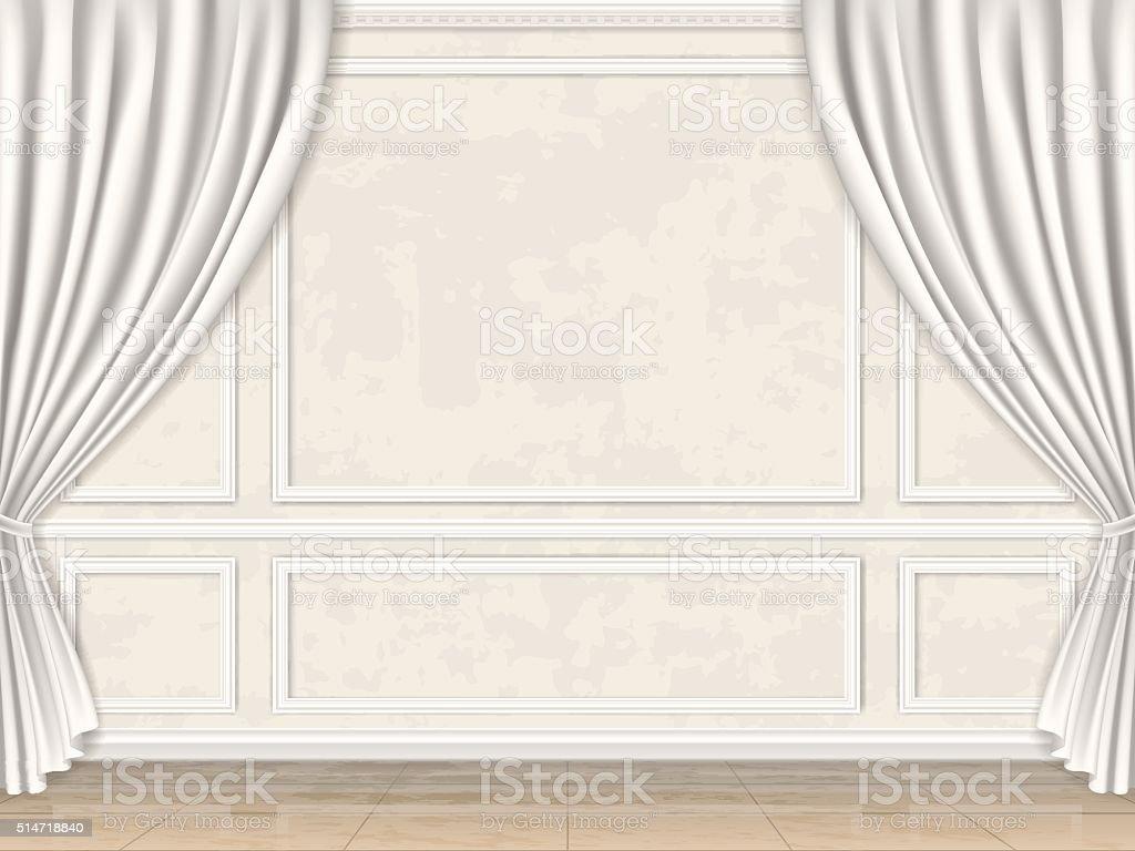 Pan De Mur D Cor De Moulures Et De Rideaux Cliparts Vectoriels Et