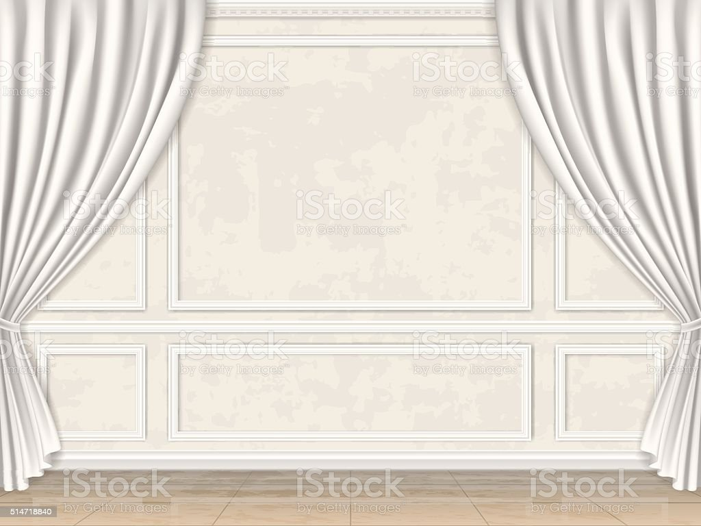 wall decorated panel mouldings and curtains vector art illustration