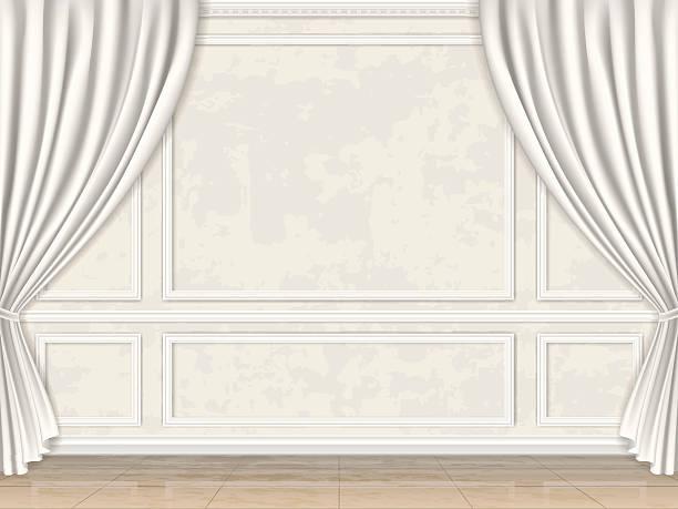 стены оформлены вставка основным и шторами - карниз stock illustrations