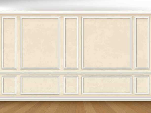 стены оформлены в классическом стиле основным вставкой - карниз stock illustrations