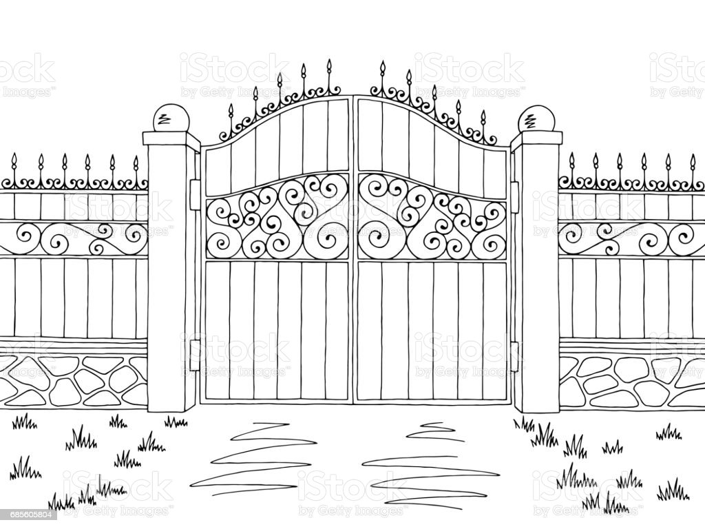 Wall fence gate graphic black white landscape sketch illustration vector royalty-free wall fence gate graphic black white landscape sketch illustration vector 0명에 대한 스톡 벡터 아트 및 기타 이미지