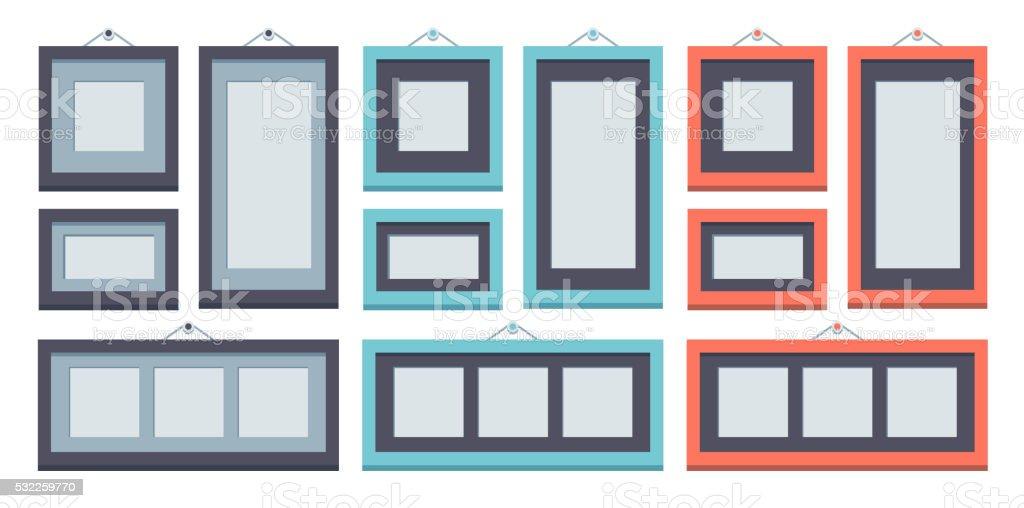 Wand Rahmen Flache Designset Stock Vektor Art und mehr Bilder von ...