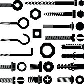 Wall hooks / bolts / nuts and wall plugs collection - vector silhouette