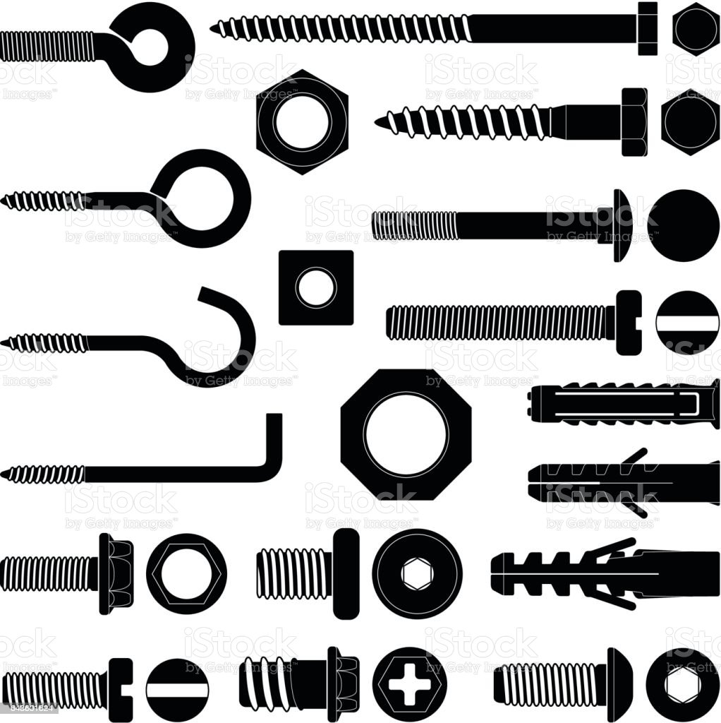 Wall hooks / bolts / nuts and wall plugs collection - vector silhouette vector art illustration