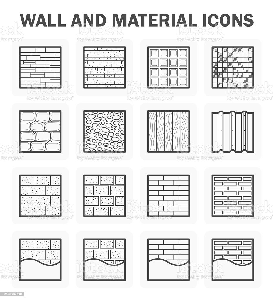Wall icon sets vector art illustration