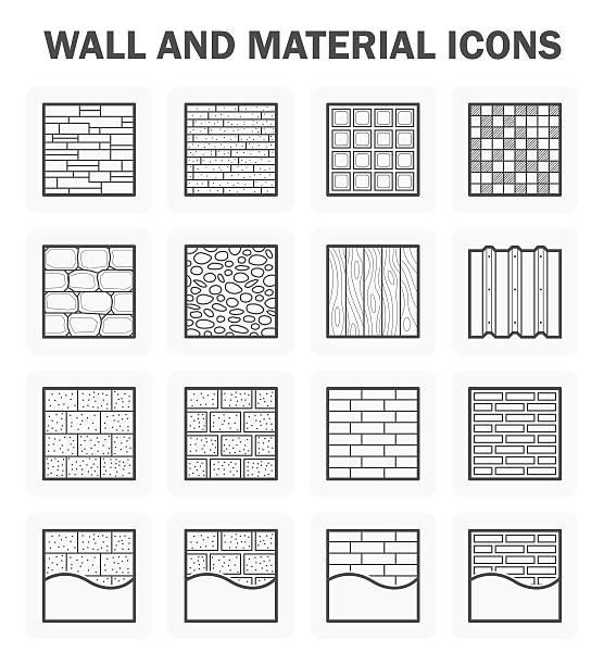 bildbanksillustrationer, clip art samt tecknat material och ikoner med wall icon sets - wood stone
