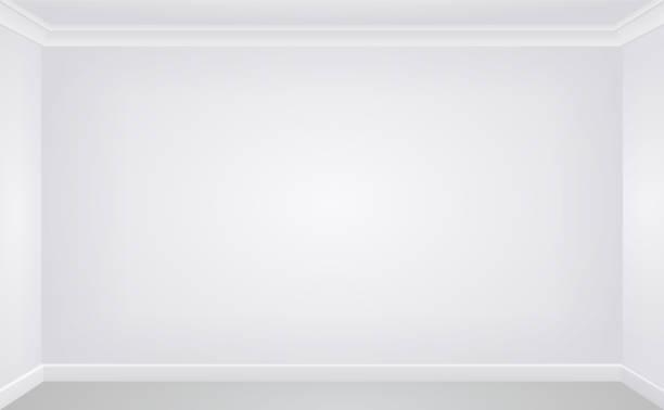 wand in einem weißen leeren raum - gesims stock-grafiken, -clipart, -cartoons und -symbole