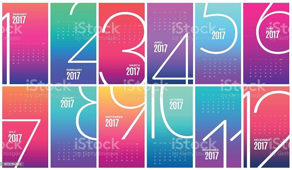 Wall Monthly Calendar 2017. Vector Template – Vektorgrafik