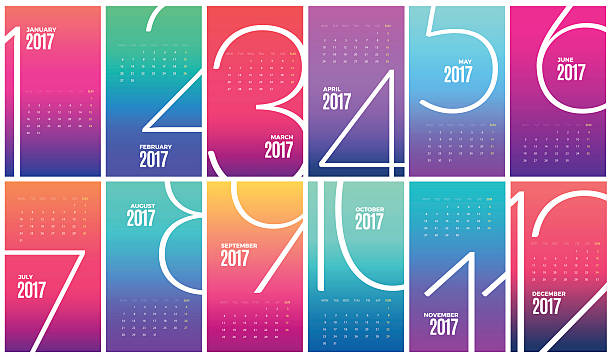 wall monthly calendar 2017. vector template - abstract calendar stock illustrations, clip art, cartoons, & icons