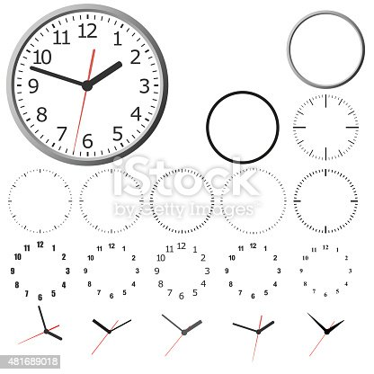 Set design layout clock dial.Wall mounted digital clock. Vector illustration.Wall mounted digital clock. Vector illustration.Wall mounted digital clock. Vector illustration.Wall mounted digital clock. Vector illustration.