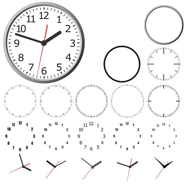 illustrazioni stock, clip art, cartoni animati e icone di tendenza di a parete orologio digitale. - quadrante