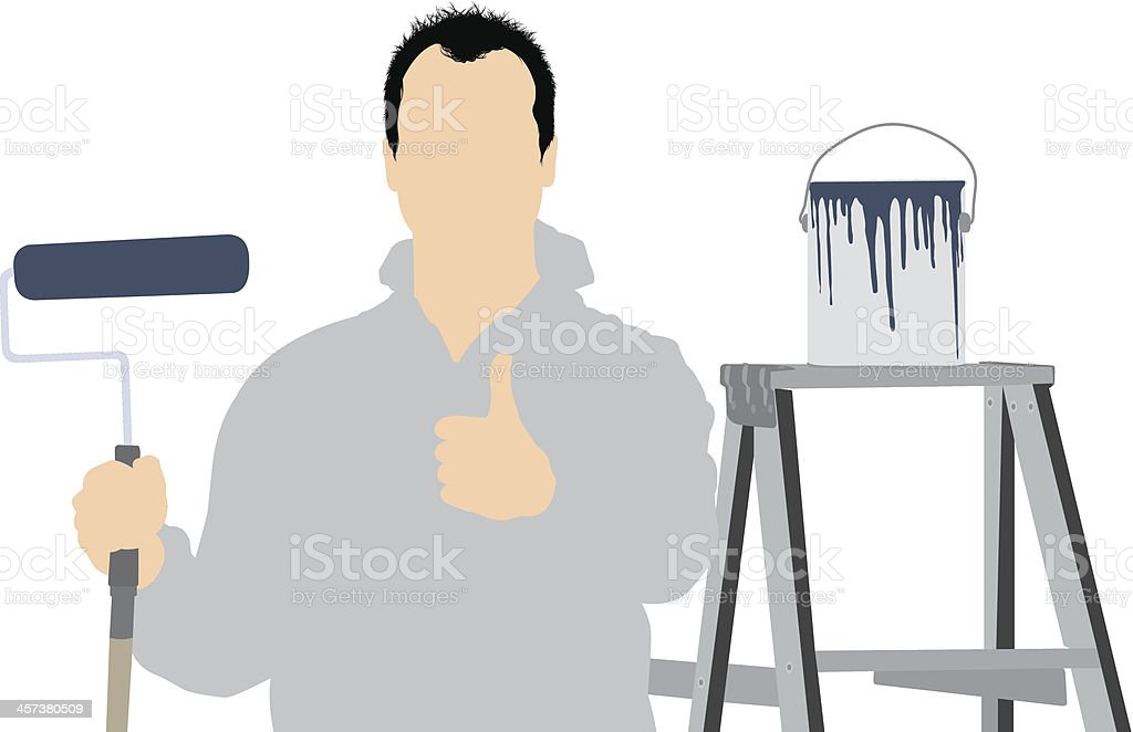 Wall painter giving thumbs up royalty-free stock vector art