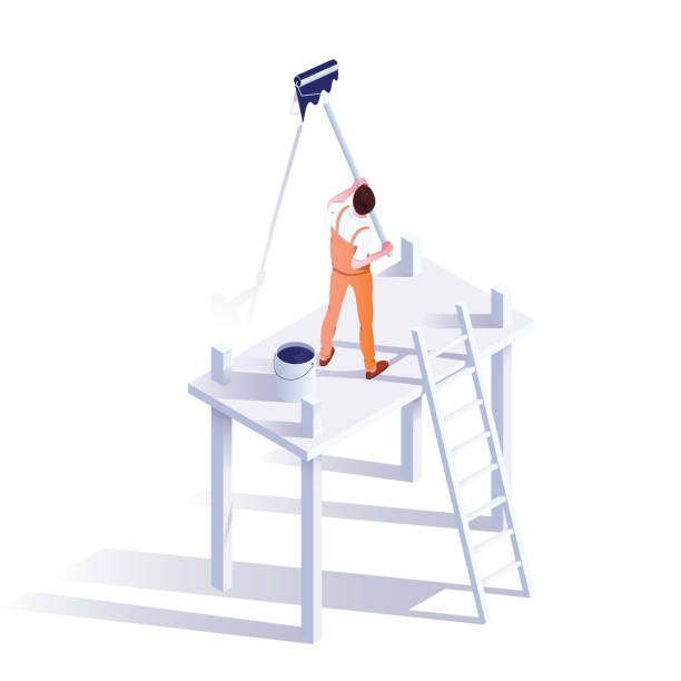 Wall painter isometric vector illustration Wall painter isometric vector illustration. Professional decorator in uniform cartoon character. Craftsman standing on scaffolding, holding paint roller. Handyman occupation, renovating service house painter stock illustrations