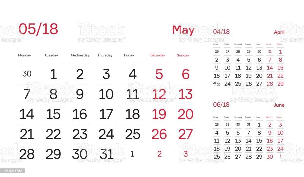 wall quarter calendar 2018 minimal and modern calendar block design month june 2018