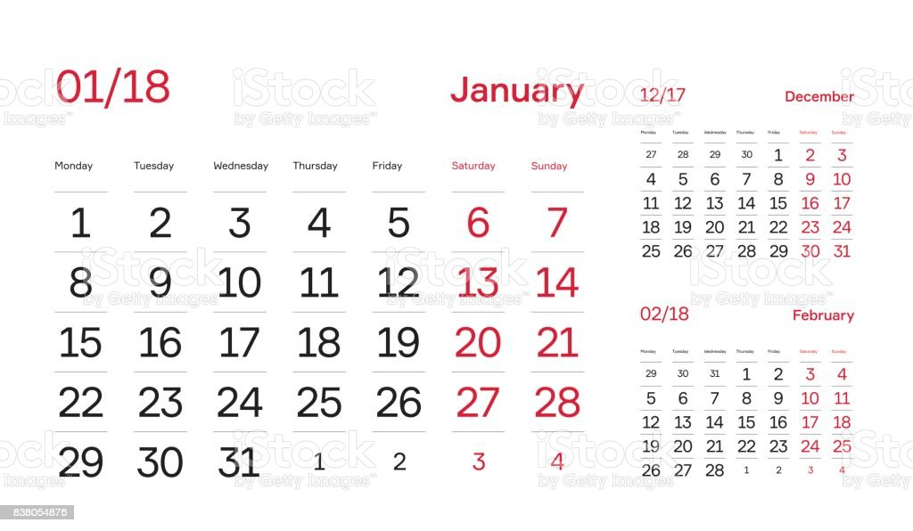 Wall Quarter Calendar 2018 Minimal And Modern Calendar Block Design
