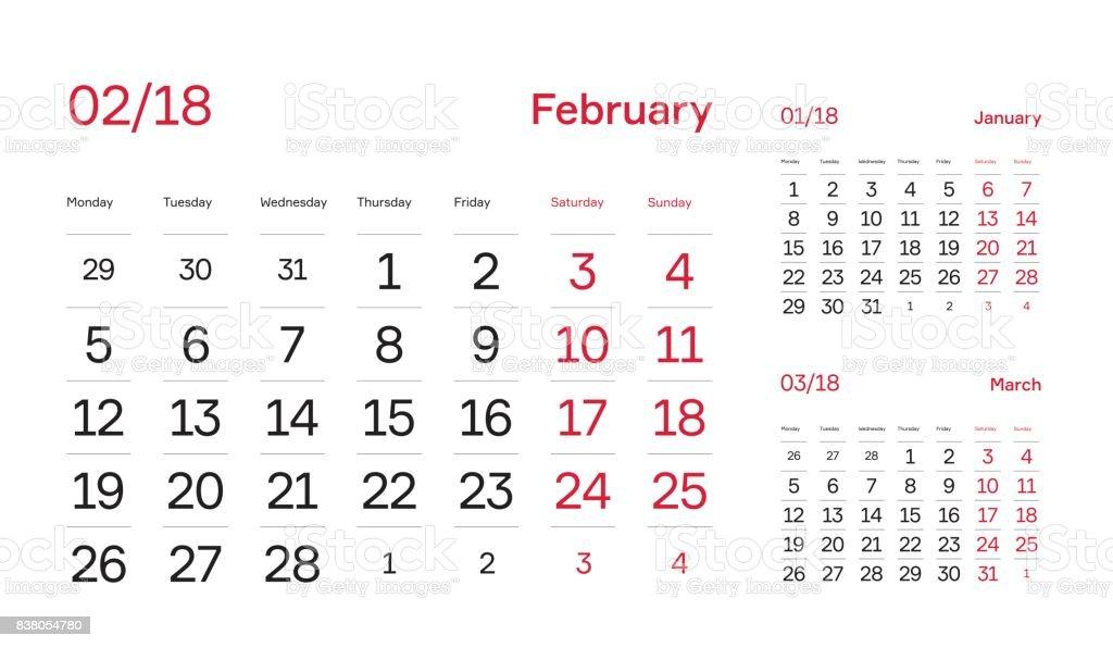 Wall Quarter Calendar 2018 Minimal Calendar Block Design Month