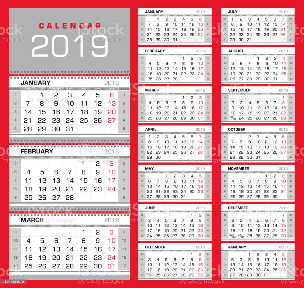 wall quarterly calendar 2019 with week numbers week start from monday royalty free