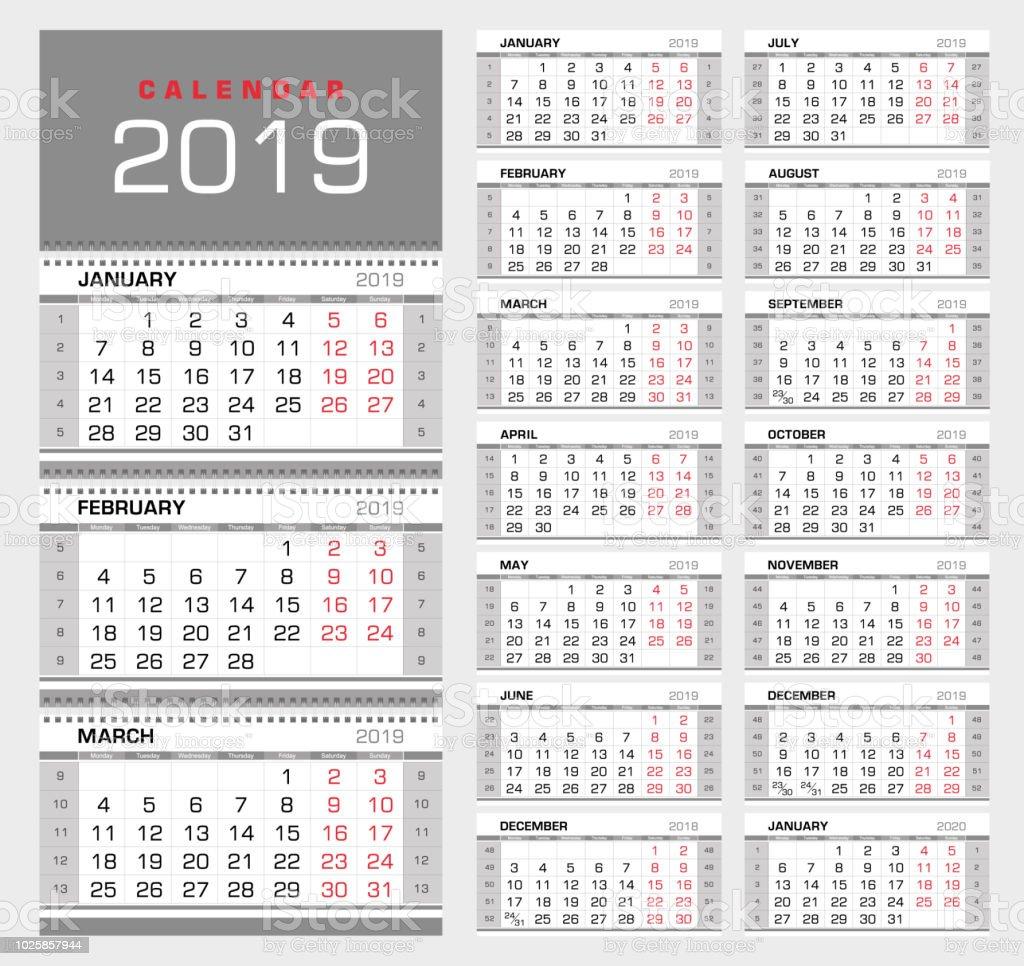 Calendrier Avec Numero Semaine.Calendrier Mural Trimestriel 2019 Avec Numeros De Semaine Semaine A Partir De Lundi Vecteurs Libres De Droits Et Plus D Images Vectorielles De 2019