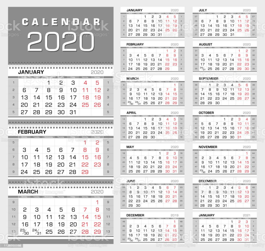 Calendar With Week Numbers 2020.Wall Quarterly Calendar 2020 With Week Numbers Week Start From