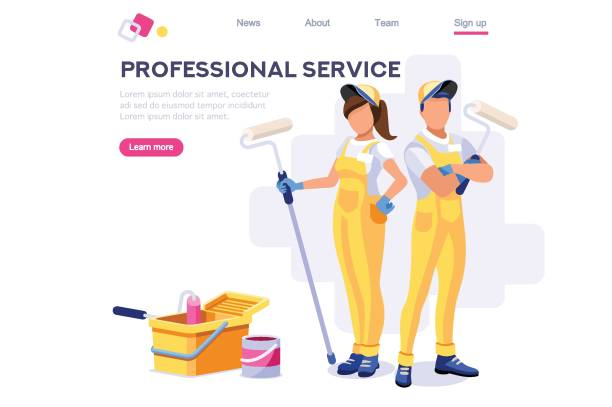 Wall Repair Professional Wall Repair Professional, Home Clip. Painting Work, Roller Set, Vacuuming Design, Sweeping Wallpaper. Service Cleaner Element. Worker Cartoon Flat Vector Illustration Banner Isolated Isometric Concept house painter stock illustrations