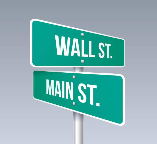 wall street und main street - straßenschilder stock-grafiken, -clipart, -cartoons und -symbole