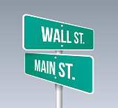 Wall street and main street crossroads sign.