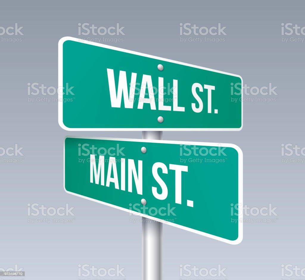 Wall Street und Main Street – Vektorgrafik