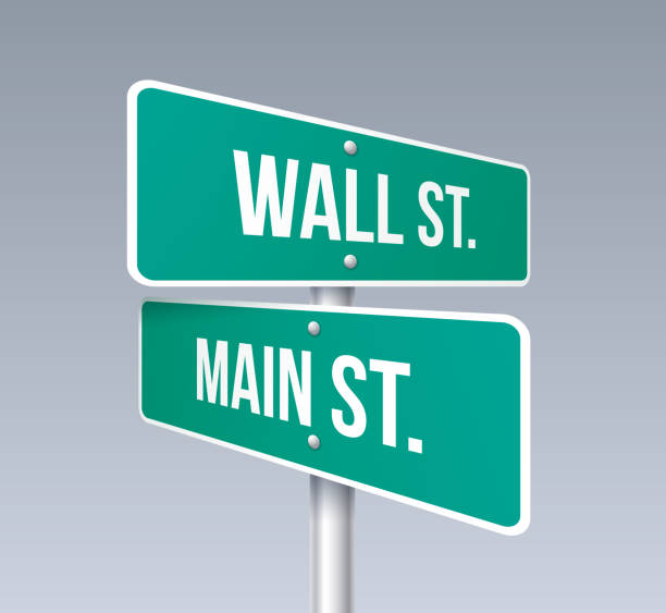 stockillustraties, clipart, cartoons en iconen met wall street en main street - kruispunt