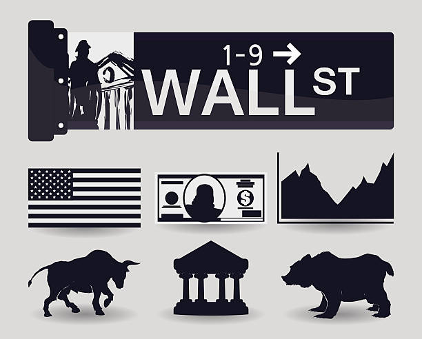 Wall street design, vector illustration. Wall street design over white background, vector illustration. wall street stock illustrations