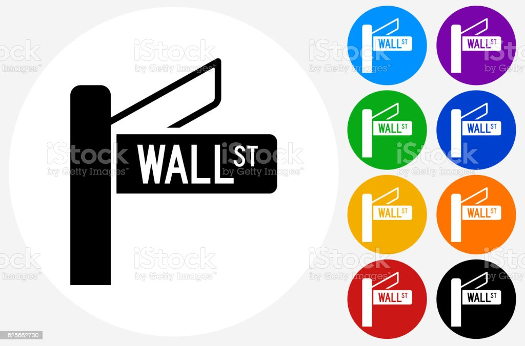 Wall Street Icon on Flat Color Circle Buttons vector art illustration