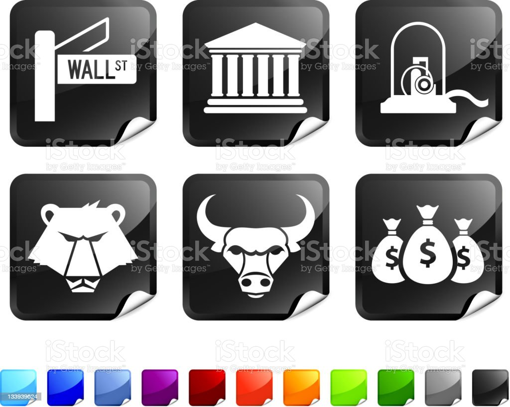 wall street royalty free vector icon set stickers vector art illustration